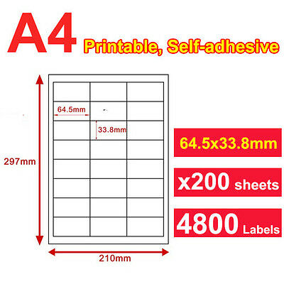 200 x A4 Sticker Paper Mailing Address Laser Inkjet 64.5x33.8mm 24 Labels/page