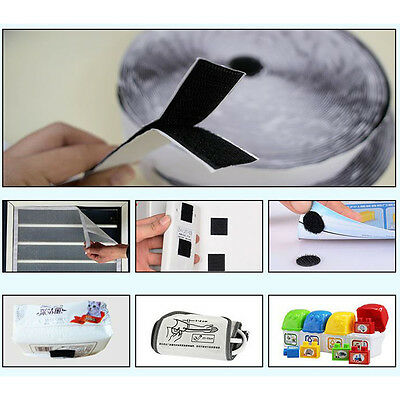 Heavy Duty Self Adhesive Sticky Back Hook Loop Fastening Tape Black or White NEW