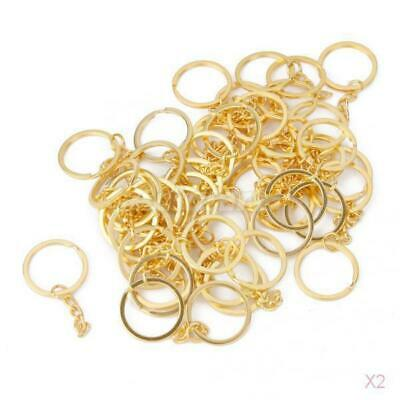 100x Split Ring Gold Tone With Link Chain Keyrings Key Chains Findings 25mm