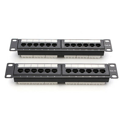 Cat6 12 Port RJ45 Patch Panel Ethernet Network Rack Wall Mounted Bracket Black