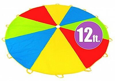 12 Foot Play Parachute W 16 Handles - Multicolored Parachute For Kids play game