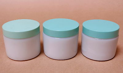 3 Beautiful Vintage Milk Glass Cold Cream Jars