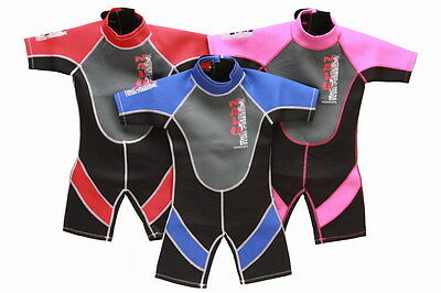 "RED BOYS GIRLS CHILDS WETSUIT SHORTY 5-6 years CHILDRENS KIDS SHORTIE 26"" chest"