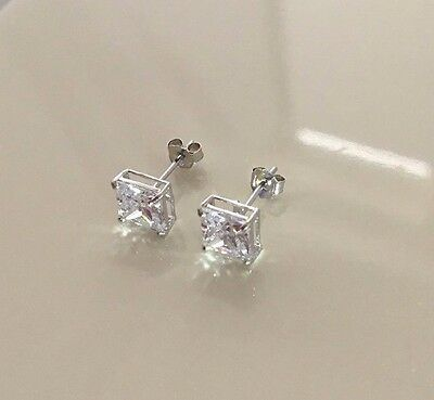9ct White Gold Stud Earrings 6mm Square Lab Created Diamonds Mens Womens Uk Made