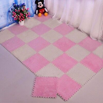 Soft Interlocking Foam Floor Puzzle Play Mat Suede Pad Baby Kids Crawling Play