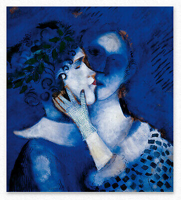 Marc Chagall   Blue Lovers 80x72 cm  STAMPA TELA CANVAS PRINT TOILE LIENZO