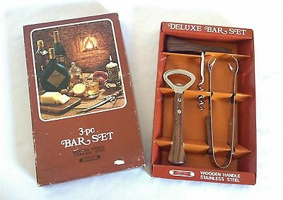Original Vintage 1970's 3 Piece Wooden Handle Stainless Steel Bar Set - Mib