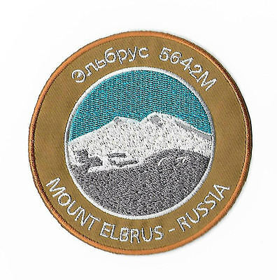 Mount Elbrus Patch Russia Caucasus Mountains Embroidered Iron on Badge Souvenir