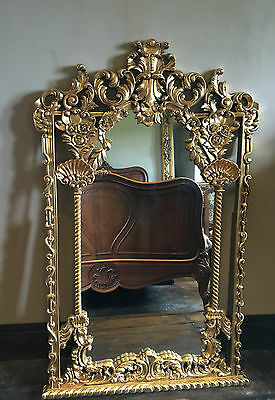 Hand Carved Mahogany Gold Leaf Rococo Ornate Large French  Wall  Mirror