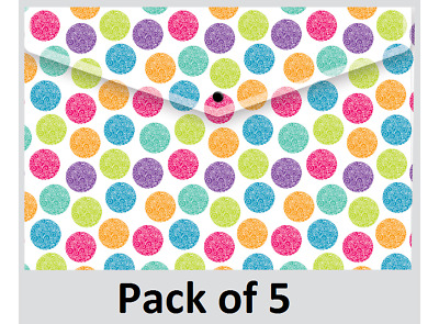 Rapesco Popper Wallet - A4/Foolscap Assorted Bright Colours Pack of 5