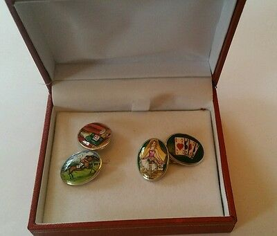 Solid Silver Hallmarked Hand Enamelled Four vices  Cufflinks  Collectables