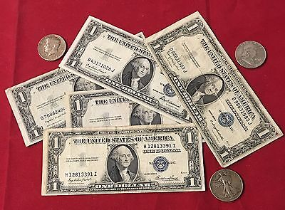 1935 $1.00 Silver Certificate & Silver Half Dollars