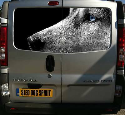 Printed Siberian Husky Face Decal 150Cm Sled Dogs Huskies Van Sticker Sibes Dog
