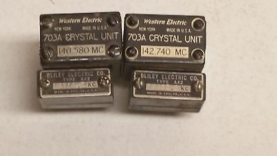 4 Ham Radio Crystals-Western Electric-Bliley- 2x 703A-2x AX2-Untested Units