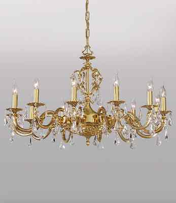 12 LIGHT CRYSTAL  POLISH BRASS SPANISH CHANDELIER  HAND MADE 2669/12  Brand New