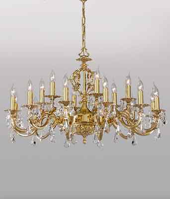 18 LIGHT CRYSTAL  POLISH BRASS SPANISH CHANDELIER  HAND MADE 2670/12+ 6 New