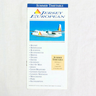 Trikot European Airways - Sommer Fluglinie Flugplan - 1 April bis 27 Okt 1991