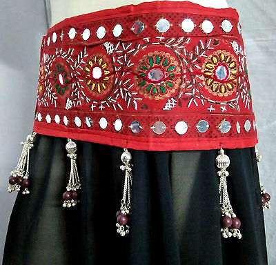 Kuchi Belly Dance Old Banjara Patch Embroidery Tribal Ethnic Hanging Belt Ats