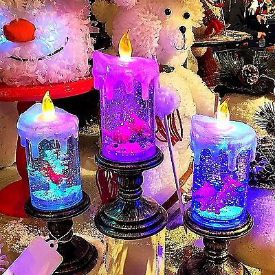 """10.25""""H B/O Lighted Acrylic Spinning Water Cardinal Candle Set/3"""