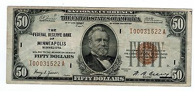 1929 National Currency FRB Minneapolis Fr1880I $50 Choice Fine