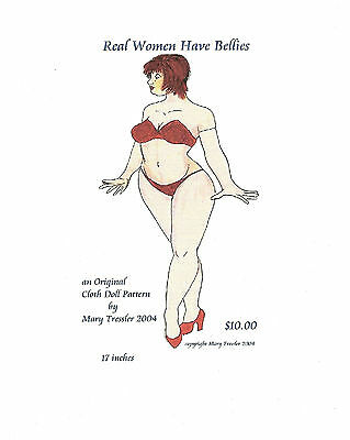 """*new* Cloth Art Doll (Paper) Pattern """"real Women Have Bellies"""""""