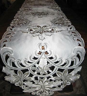"Ivory Poinsettias Silver Sequin Scalloped Christmas Decor Table Runner 69""x 13"""