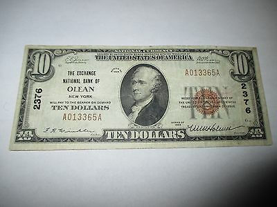 $10 1929 Olean New York NY National Currency Bank Note Bill Ch. #2376 VF+!