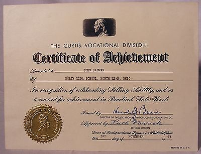 1953 Curtis Circulation Company Certificate of Achievement Bauman North Lima Oh