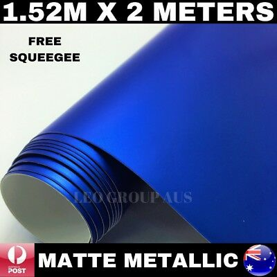 1.52M X 2M Dark Blue Matte Metallic Chrome Car Vinyl Wrap Film Air Bubble Free