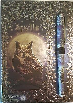 Luna Lakota Owl Embossed Spell Journal Grimoire BOS  Wicca Pagan