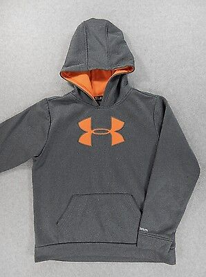 Under Armour STORM Stitched Big Logo Hoodie Sweatshirt (Youth Large) Gray