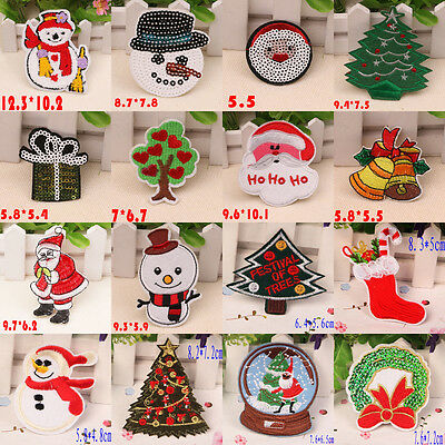 Xmas Santa Sew On Patch Badge Embroidered Kids Cloth Fabric Applique DIY