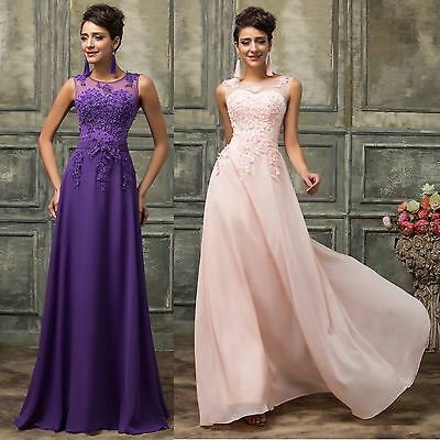 Plus Size~Lace&Chiffon Prom Party Bridesmaid Wedding Gown Evening Cocktail Dress