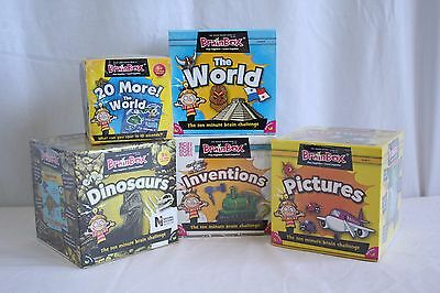 New Set Of 5 Brainbox Games - World, Dinosaurs, Inventions, Pictures, More World