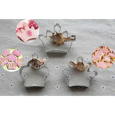 3pcs Crown baking special party biscuit metal stainless cookie cutter set