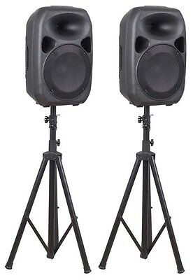 Skytec SPS122 700Watt 12inch Active Speaker Set with Stands  PA DJ Amplifier