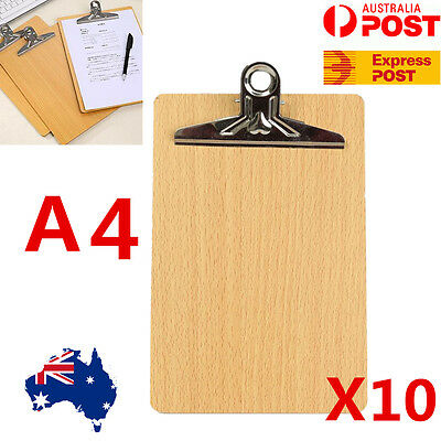 10x Wooden A4 Clipboard Hardboard Menu Board With Clip For Office Home School