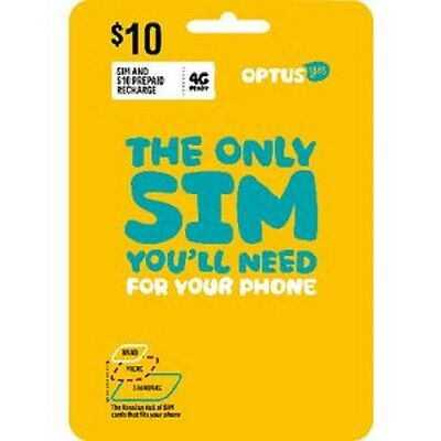 Optus Sim And $10 Prepaid Recharge 4G Ready