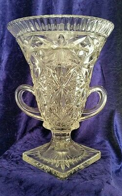 Antique cut glass crystal urn shaped vase with handles