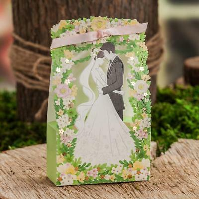 100 Pcs Bride Groom Wedding Favor Ribbon Candy Bomboniere Boxes Party Gift