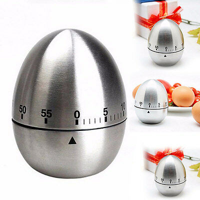 Stainless Steel Egg 60 Minute Countdown Kitchen Cooking Mechanical Alarm Timer