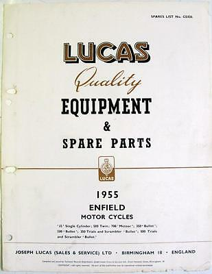 Lucas ROYAL ENFIELD Electrics Motorcycle Equipment & Spare Parts 1955 #CE826