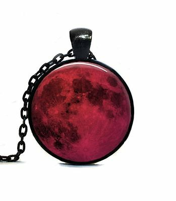 New Full Red Moon Pendant Necklace Blood Lunar Space Eclipse Prophecy Omen Evil
