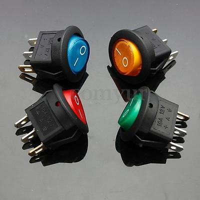 4 x 12V LED ILLUMINATED ROCKER ON-OFF TOGGLE SPST SWITCH DASH LIGHT CAR BOAT