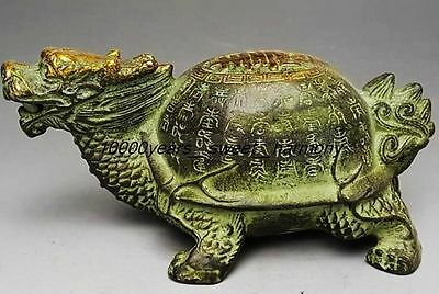 Vintage Chinese Bronze Gilt Old Handwork Dragon Turtle Statue