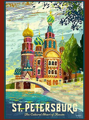 St. Petersburg Heart of Russia Russian St. Basil's Travel Advertisement Poster
