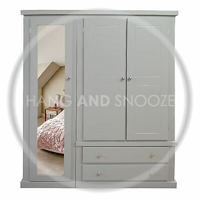 Handmade Dewsbury Triple Full Mirrored Wardrobe Grey (Assembled)