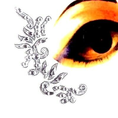 Four Piece Eye Corner Face / Body Art Kit  3D Stickers Clear Gems on Silver A