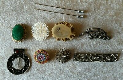 X8 Antique & vintage Ladies brooches + 2 Thistle hat pins mother of pearl etc