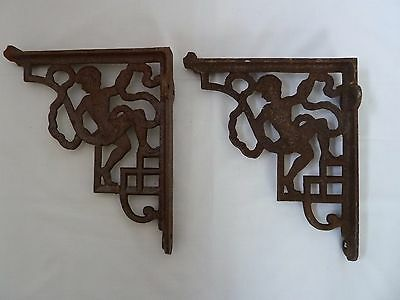 Pair of Vintage Cast Iron Shelf Brackets